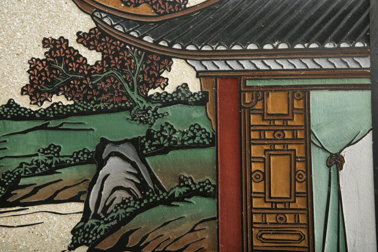 Chinese Export Four Panel Coromandel Screen Pearlescent Landscape For Sale 10