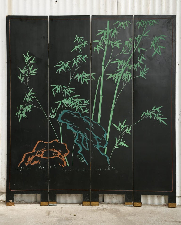 Chinese Export Four Panel Coromandel Screen Pearlescent Landscape For Sale 13