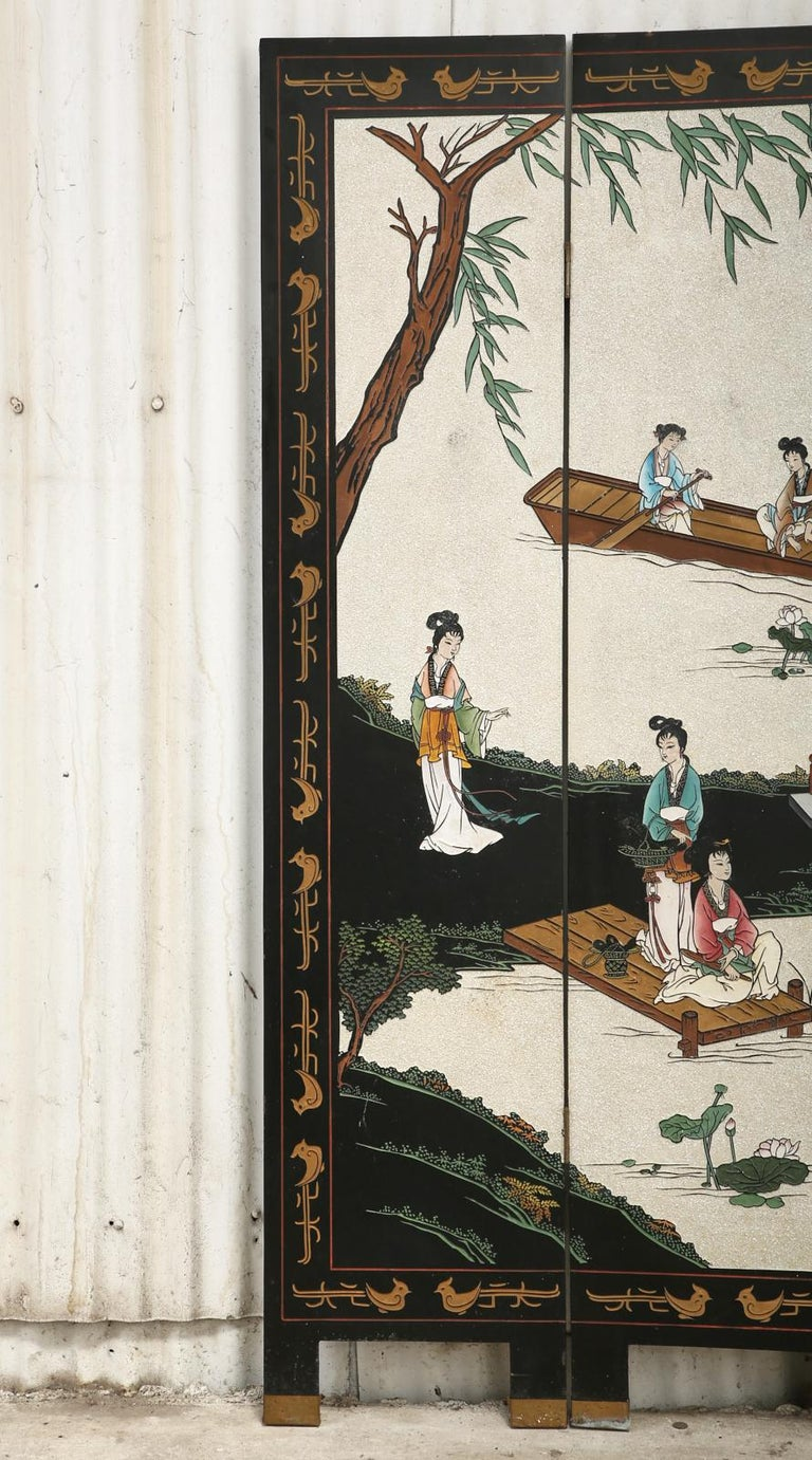 Lacquered Chinese Export Four Panel Coromandel Screen Pearlescent Landscape For Sale