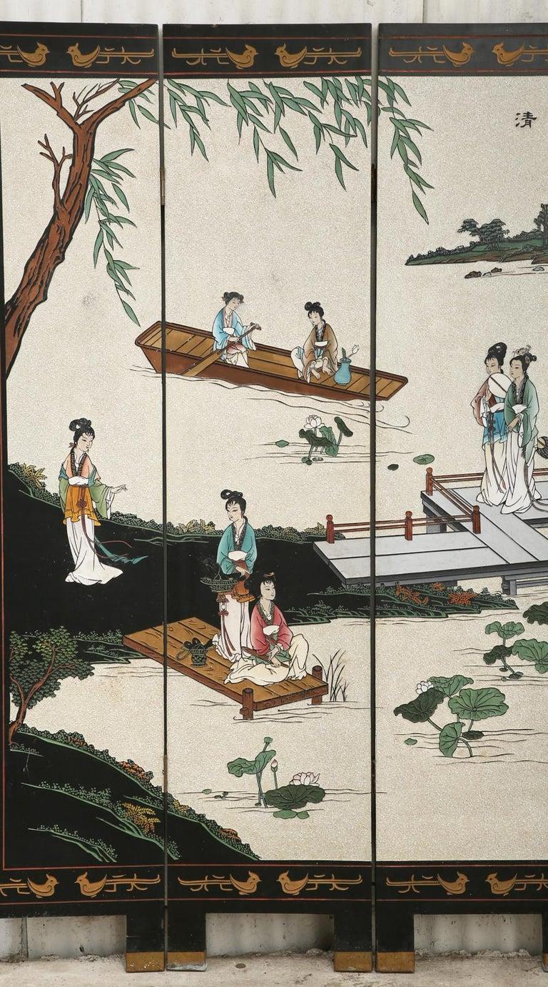 Chinese Export Four Panel Coromandel Screen Pearlescent Landscape In Good Condition For Sale In Rio Vista, CA