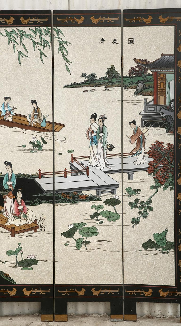 20th Century Chinese Export Four Panel Coromandel Screen Pearlescent Landscape For Sale