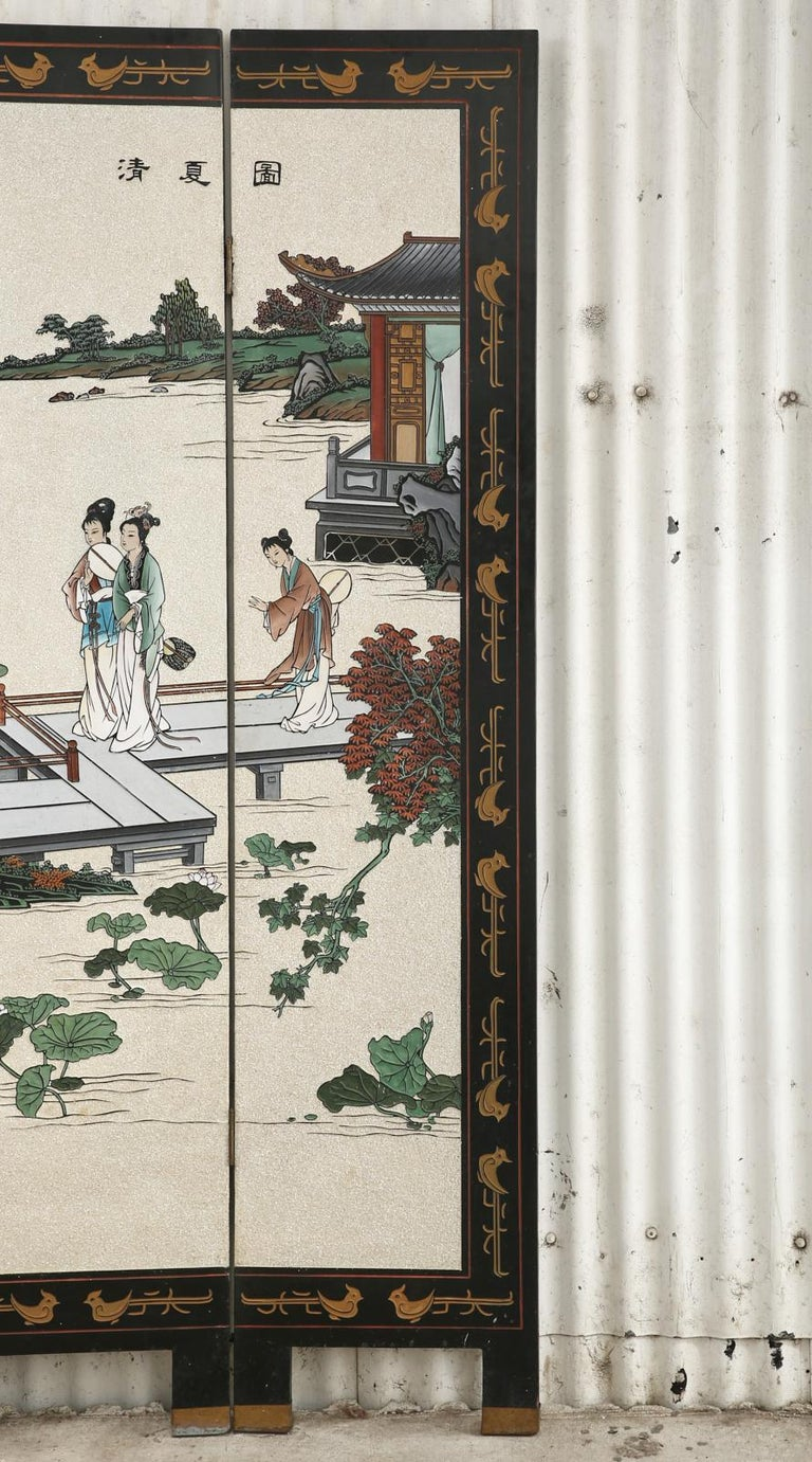 Brass Chinese Export Four Panel Coromandel Screen Pearlescent Landscape For Sale