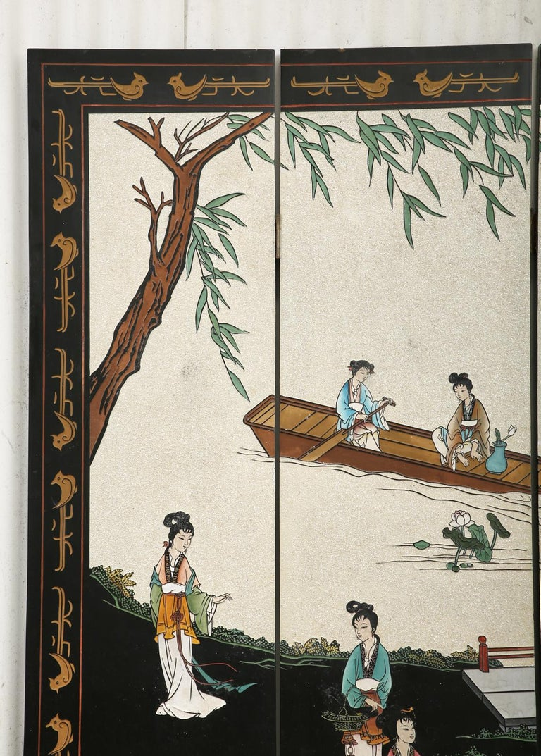 Chinese Export Four Panel Coromandel Screen Pearlescent Landscape For Sale 1