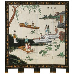 Chinese Export Four Panel Coromandel Screen Pearlescent Landscape
