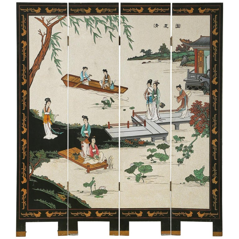 Chinese Export Four Panel Coromandel Screen Pearlescent Landscape For Sale