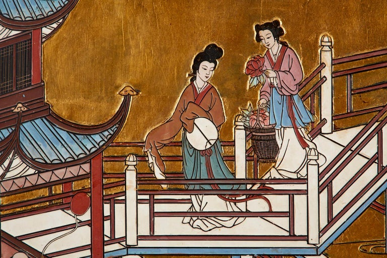 Chinese Export Four-Panel Gilt Lacquered Coromandel Screen For Sale 10