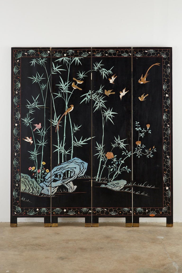 Chinese Export Four-Panel Gilt Lacquered Coromandel Screen For Sale 13