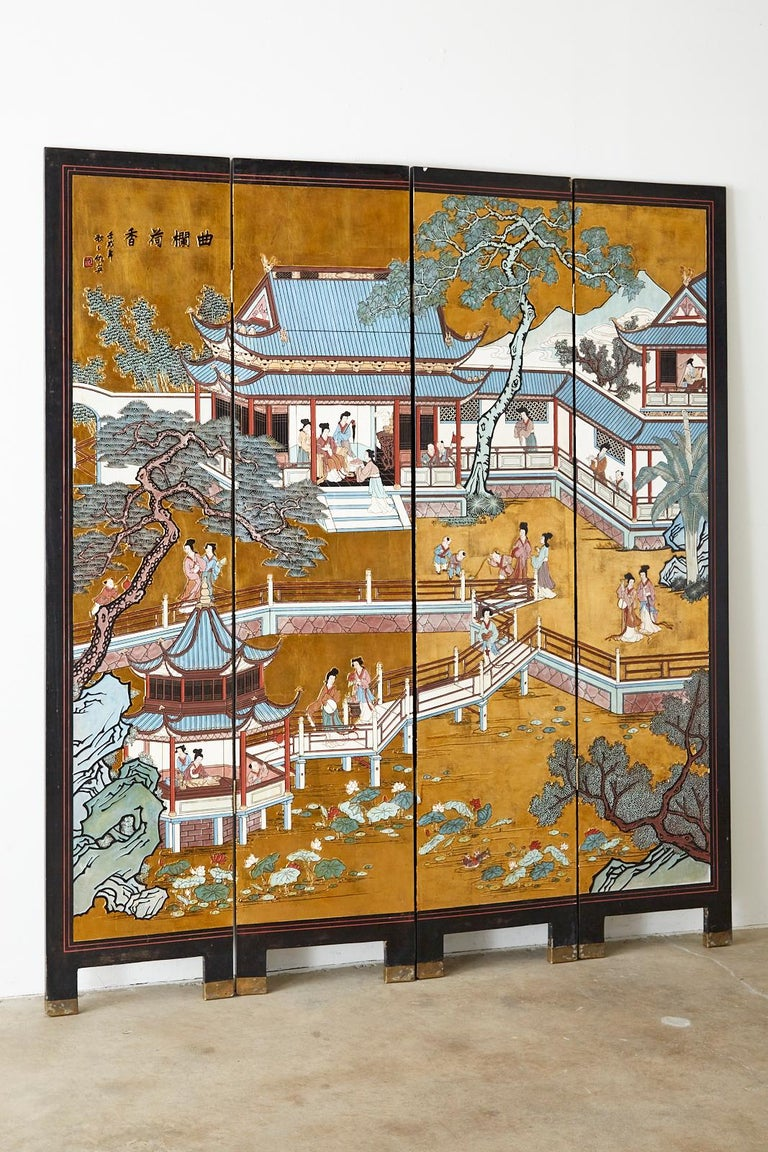 Chinese Export Four-Panel Gilt Lacquered Coromandel Screen In Good Condition For Sale In Oakland, CA