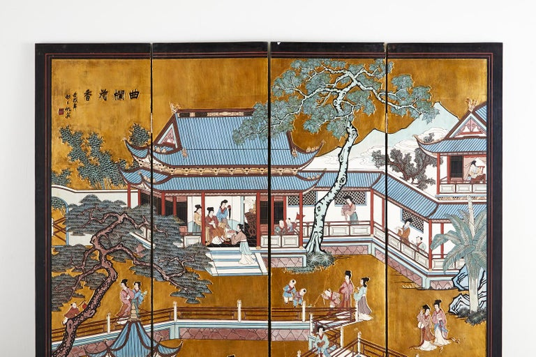 20th Century Chinese Export Four-Panel Gilt Lacquered Coromandel Screen For Sale