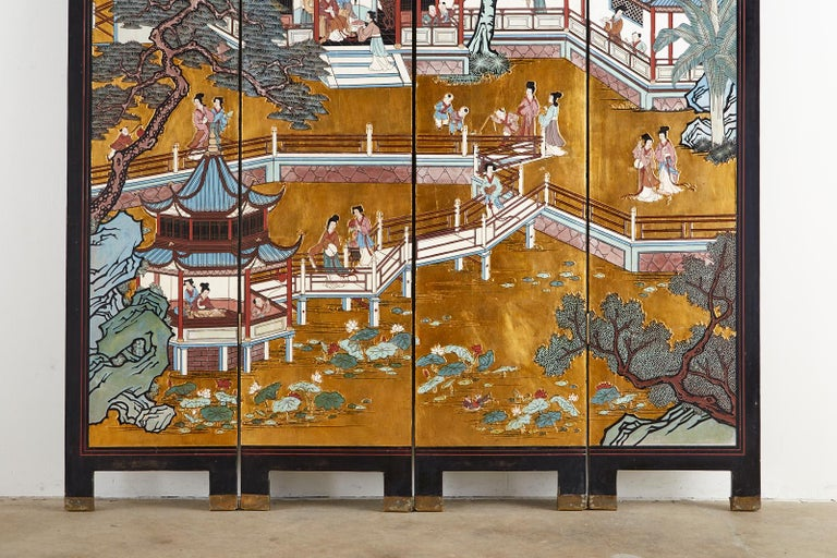 Brass Chinese Export Four-Panel Gilt Lacquered Coromandel Screen For Sale