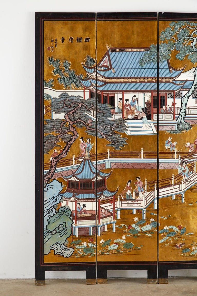 Chinese Export Four-Panel Gilt Lacquered Coromandel Screen For Sale 1