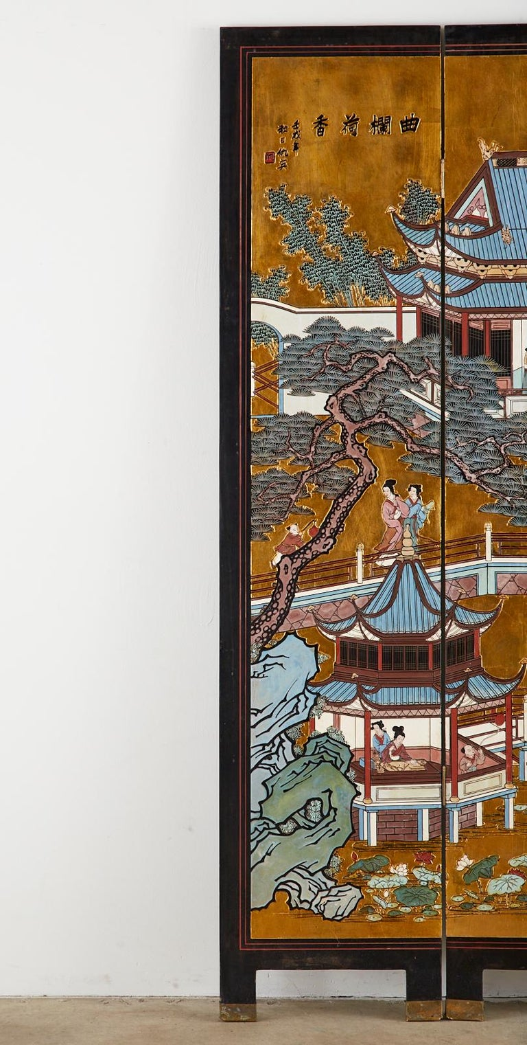 Chinese Export Four-Panel Gilt Lacquered Coromandel Screen For Sale 3
