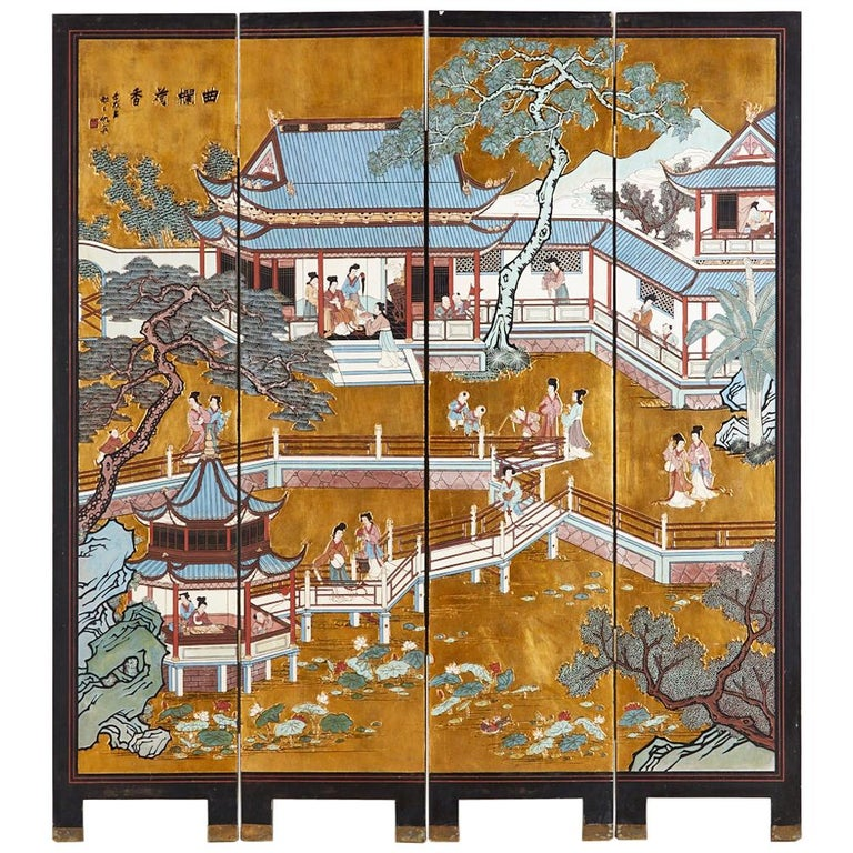 Chinese Export Four-Panel Gilt Lacquered Coromandel Screen For Sale