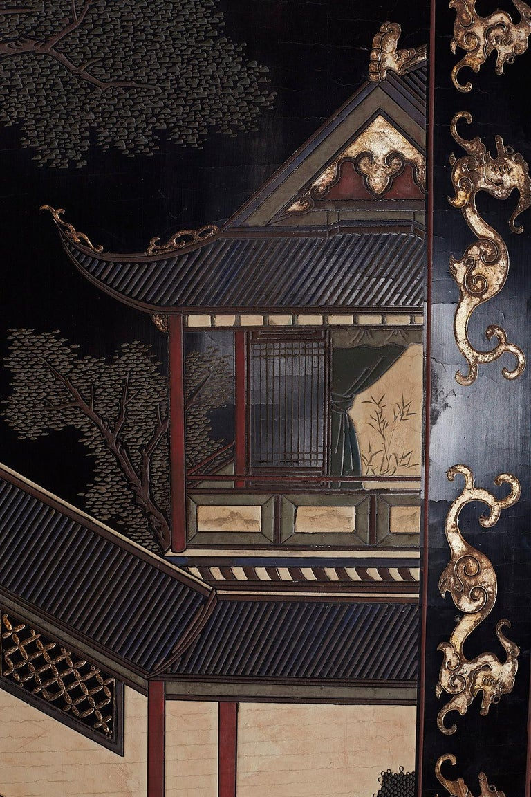 Chinese Export Four Panel Lacquer Coromandel Screen For Sale 5
