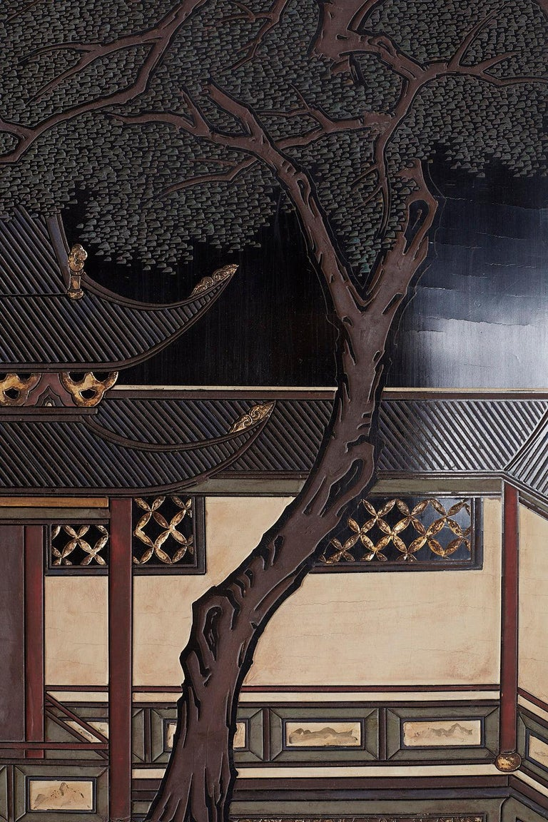 Chinese Export Four Panel Lacquer Coromandel Screen For Sale 7