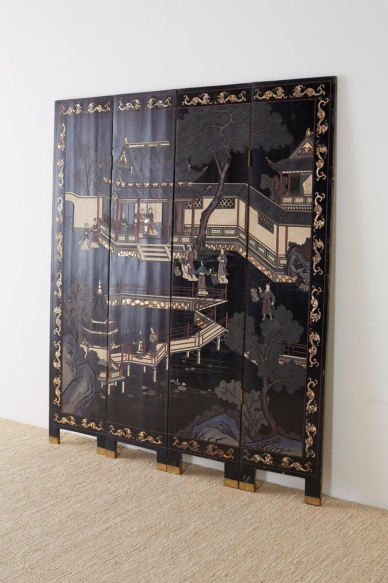 Chinese Export Four Panel Lacquer Coromandel Screen For Sale 8
