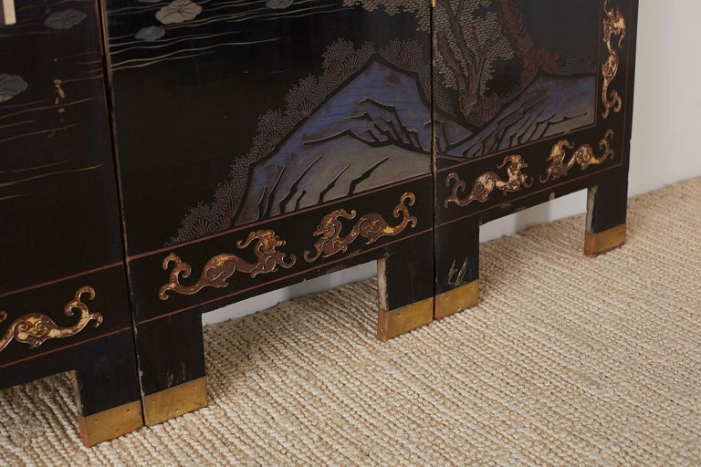 Chinese Export Four Panel Lacquer Coromandel Screen For Sale 9