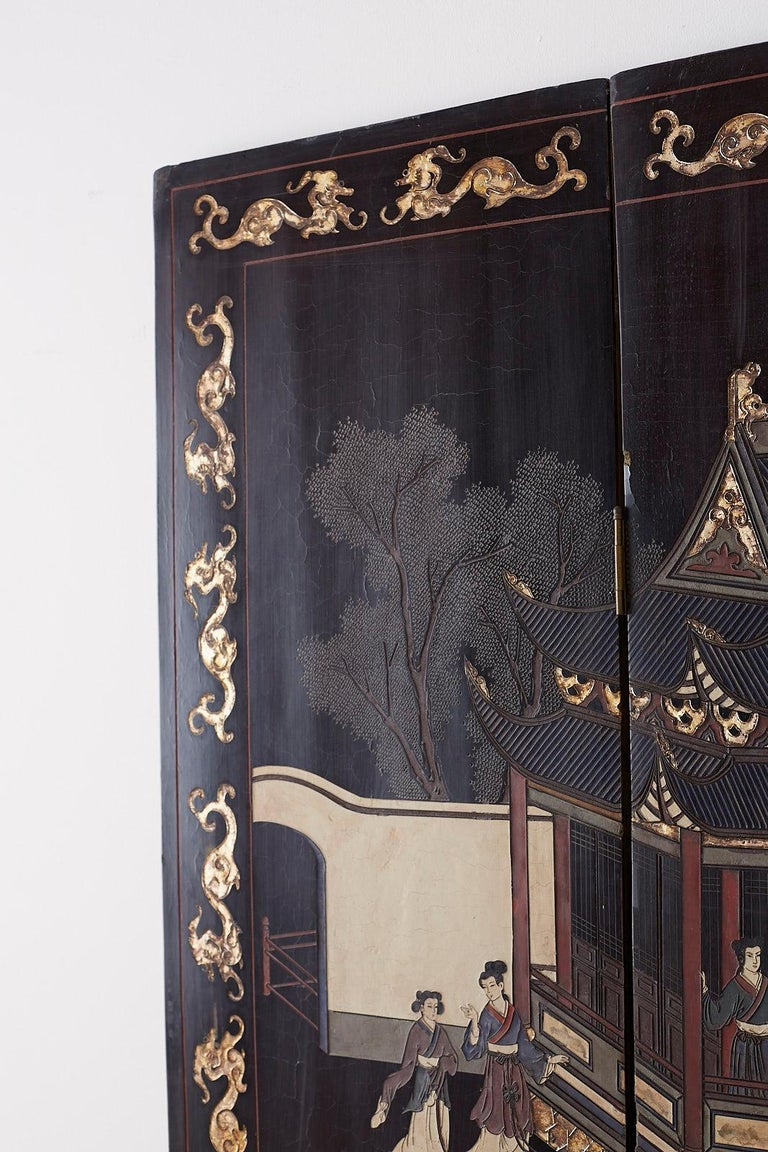 Chinese Export Four Panel Lacquer Coromandel Screen For Sale 10