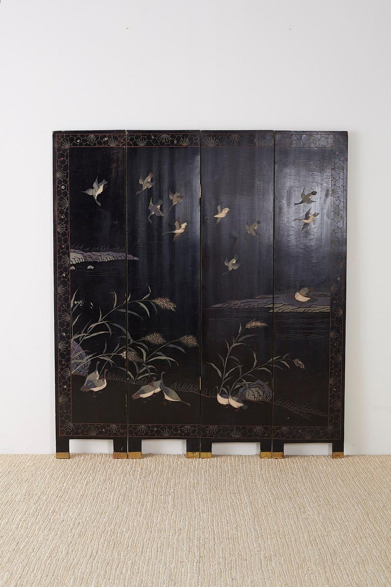 Chinese Export Four Panel Lacquer Coromandel Screen For Sale 11