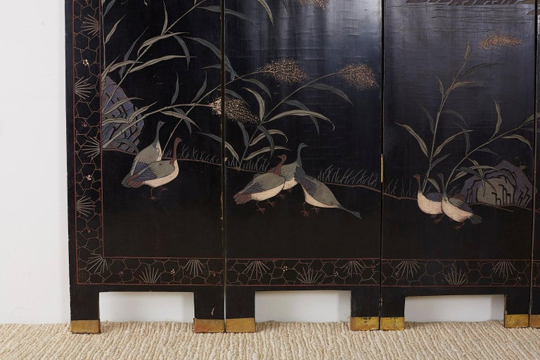 Chinese Export Four Panel Lacquer Coromandel Screen For Sale 12
