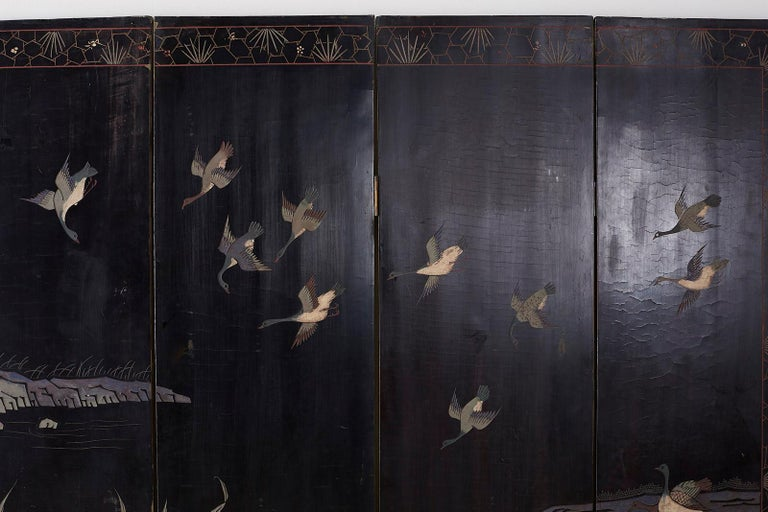 Chinese Export Four Panel Lacquer Coromandel Screen For Sale 13