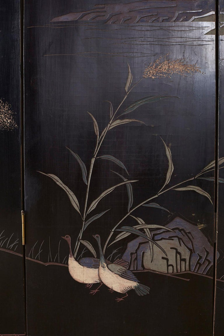 Chinese Export Four Panel Lacquer Coromandel Screen For Sale 14