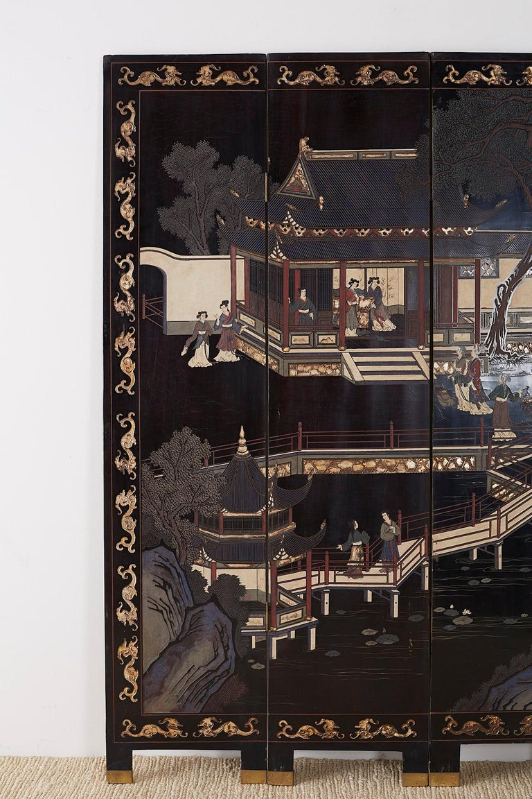 Hand-Crafted Chinese Export Four Panel Lacquer Coromandel Screen For Sale