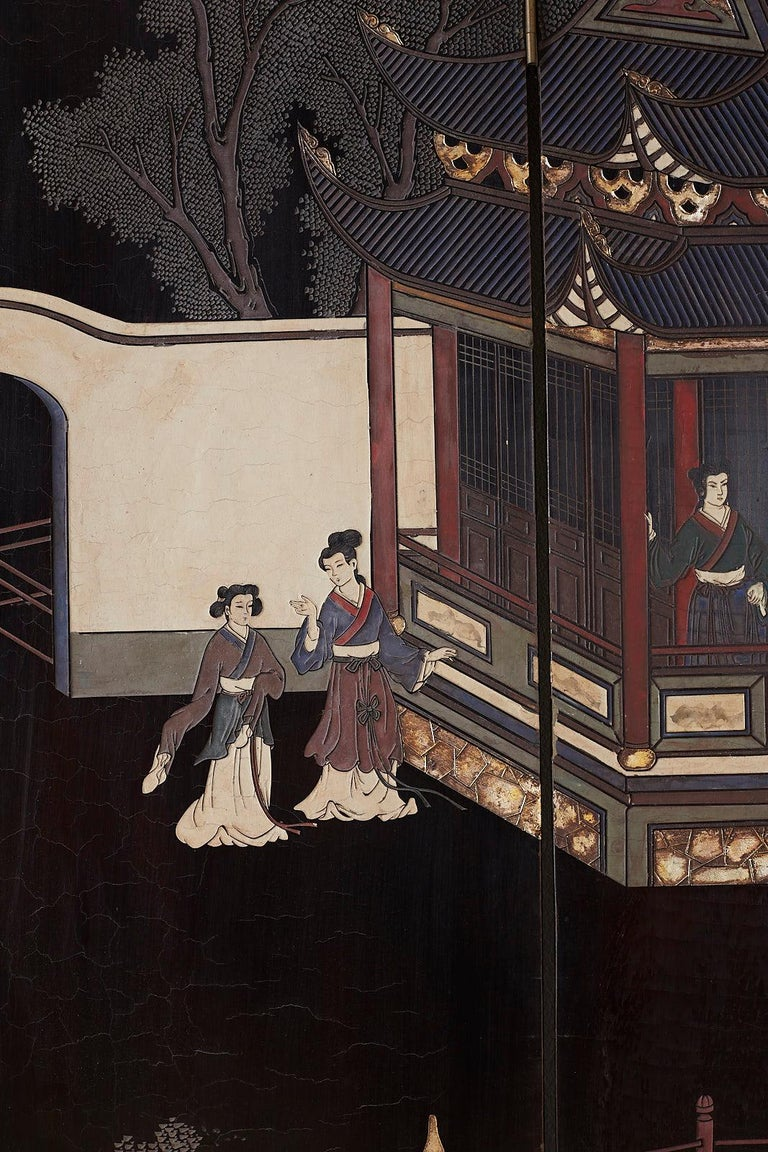 Brass Chinese Export Four Panel Lacquer Coromandel Screen For Sale
