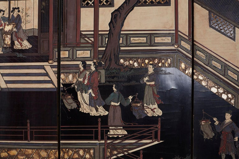 Chinese Export Four Panel Lacquer Coromandel Screen For Sale 2
