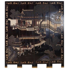Chinese Export Four Panel Lacquer Coromandel Screen