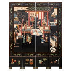 Chinese Export Four-Panel Lacquered Coromandel Screen