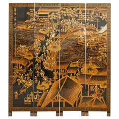 Chinese Export Four Panel Lacquered Coromandel Screen Qingming Festival