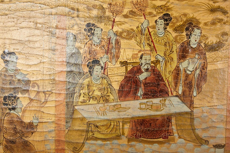 Chinese Export Four Panel Lacquered Gilt Coromandel Screen For Sale 5