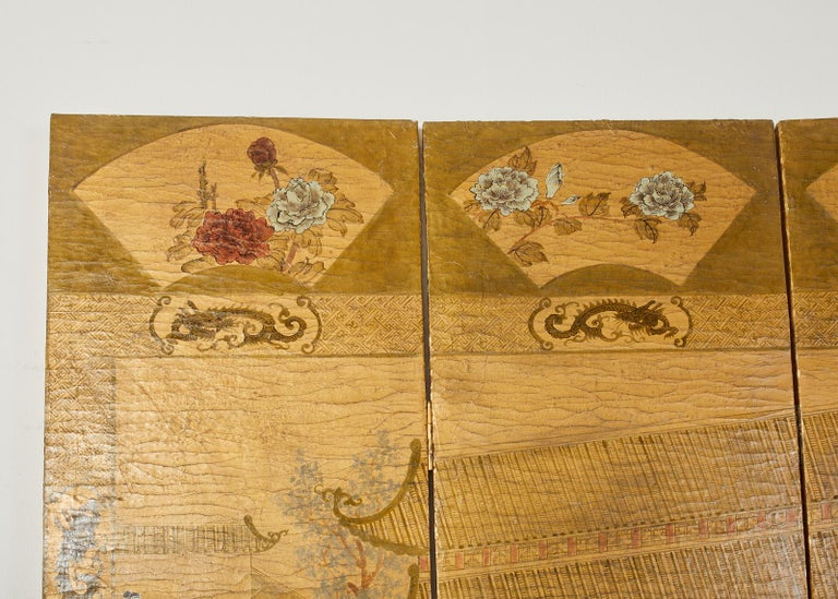 Chinese Export Four Panel Lacquered Gilt Coromandel Screen For Sale 7