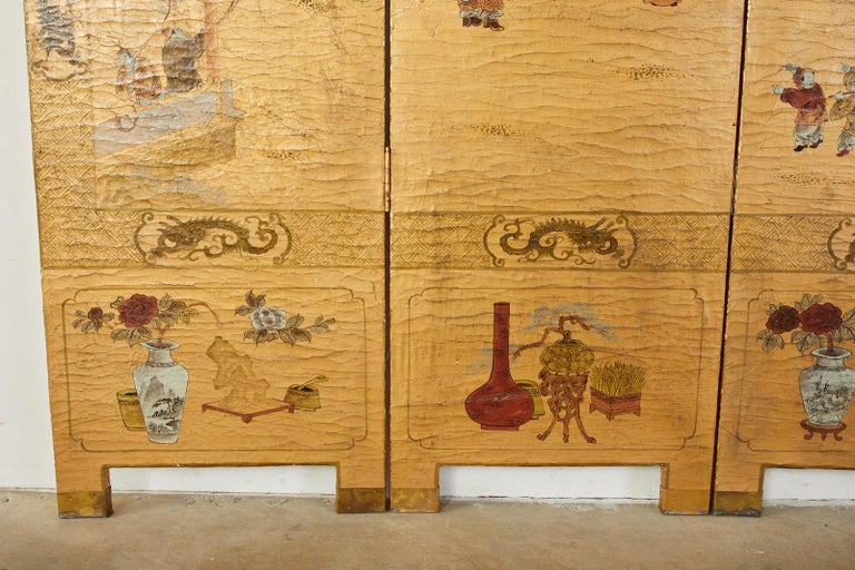 Chinese Export Four Panel Lacquered Gilt Coromandel Screen For Sale 8