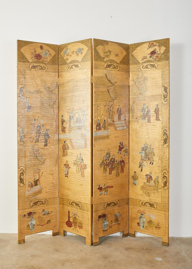 Chinese Export Four Panel Lacquered Gilt Coromandel Screen In Distressed Condition For Sale In Rio Vista, CA