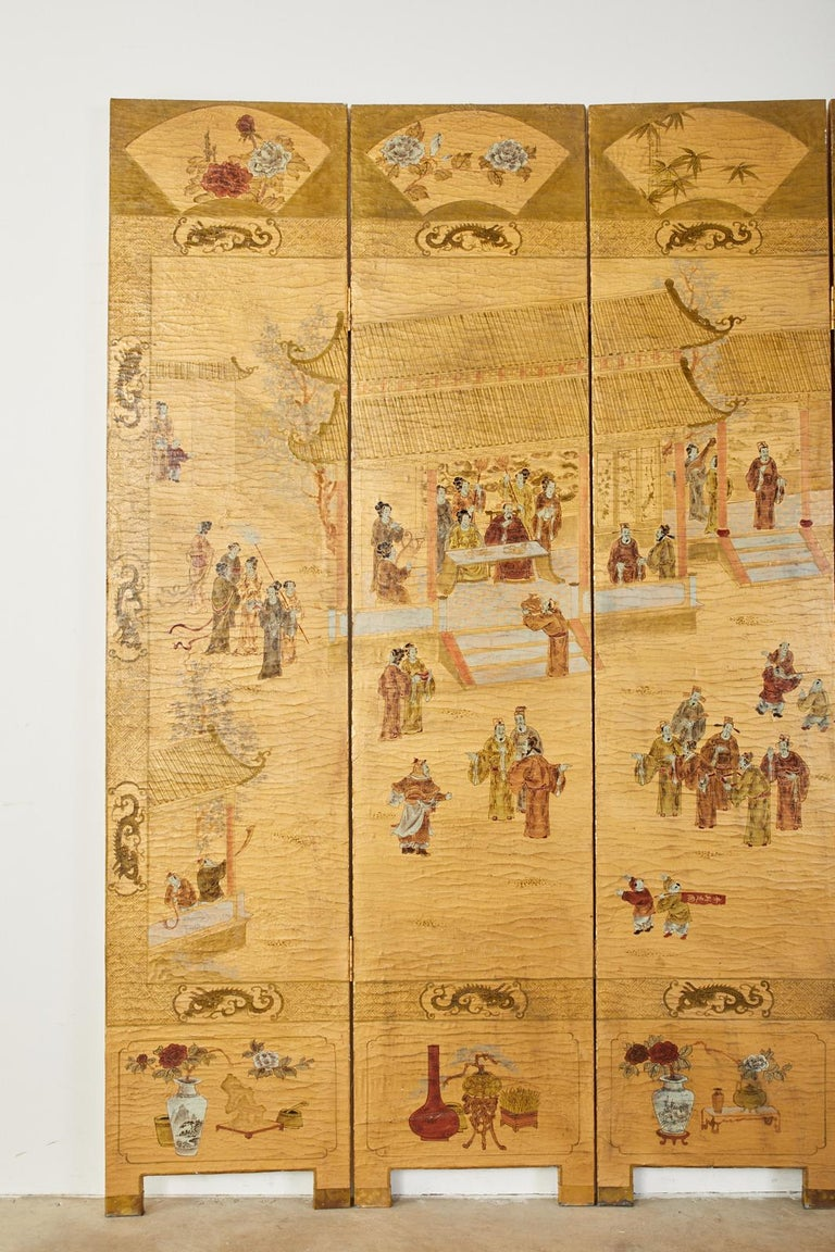 20th Century Chinese Export Four Panel Lacquered Gilt Coromandel Screen For Sale