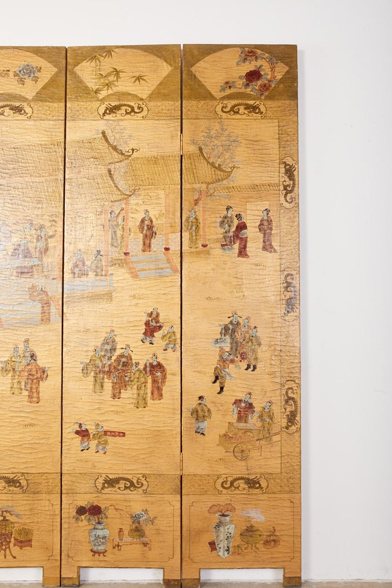 Brass Chinese Export Four Panel Lacquered Gilt Coromandel Screen For Sale