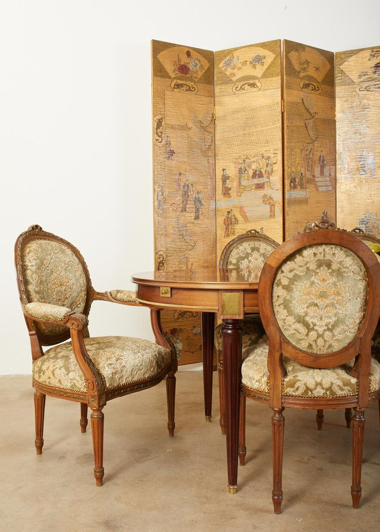 Chinese Export Four Panel Lacquered Gilt Coromandel Screen For Sale 2