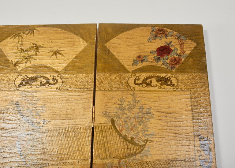 Chinese Export Four Panel Lacquered Gilt Coromandel Screen For Sale 3
