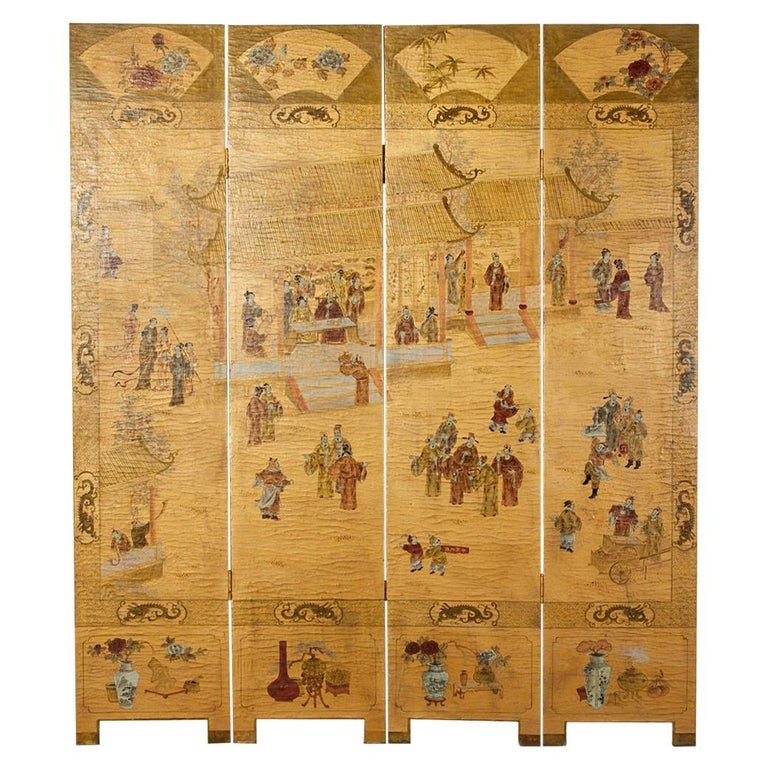 Chinese Export Four Panel Lacquered Gilt Coromandel Screen For Sale