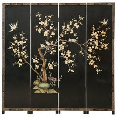Chinese Export Four Panel Soapstone Coromandel Screen