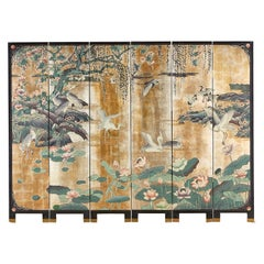 Chinese Export Gilt Coromandel Screen Crane Landscape
