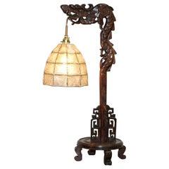 Chinese Export Hand Carved Hardwood Chinese Ming Dragon Lamp + Shade, circa 1920