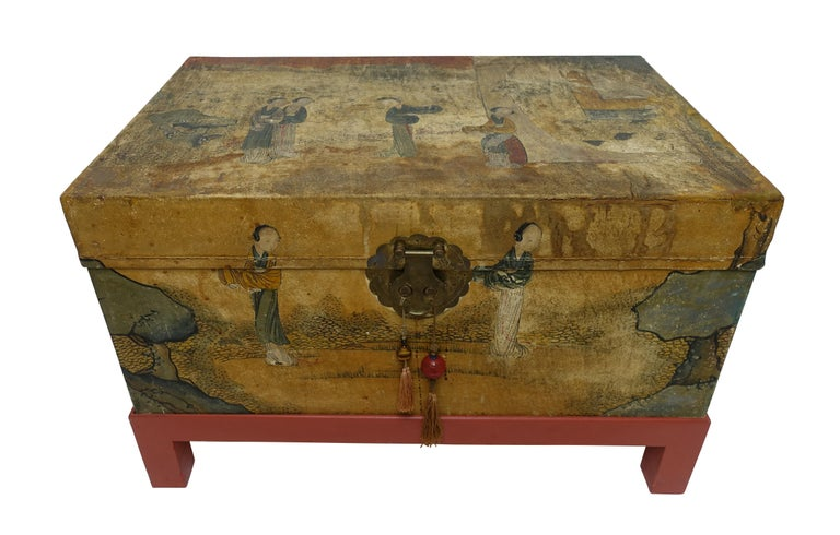 Hand painted pigskin leather trunk on later made painted stand, having brass hardware and retaining its original paper lining, China, early 20th century.