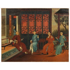 Chinese Export Hand-Painted Oil on Canvas Painting of Interior Scene w/ Emperor