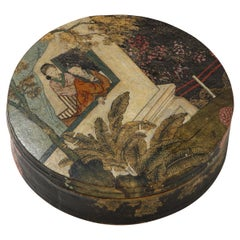 Chinese Export Hand Painted Pigskin Circular Box