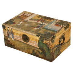 Chinese Export Hand Painted Pigskin Trunk
