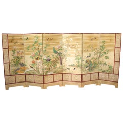 Chinese Export Hand-Painted Wallpaper Six Panel Screen with Birds and Flowers