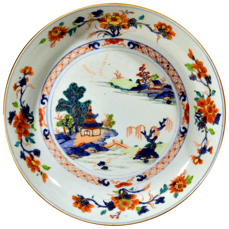 Chinese Export Imari & Verte Large Porcelain Saucer Dish, circa 1740-1770